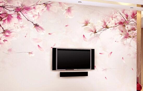 电视墙装修效果图四:墙纸或壁布材料电视墙装修