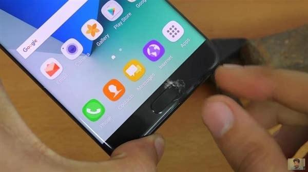 三星Galaxy Note 7 刀子+锤子击打五代康宁玻璃的照片 - 2