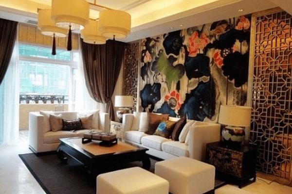 卓越精致 中式风格沙发背景墙效果图