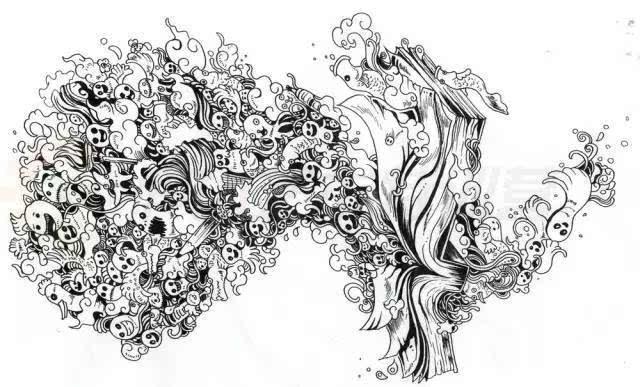 人体结构三视图手绘