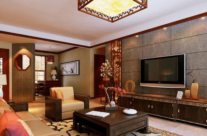 家庭大厅装修效果图之中式风格