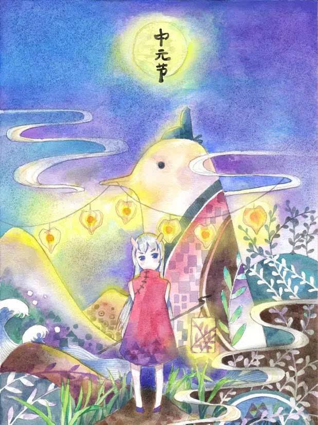 盂兰盆节 手绘
