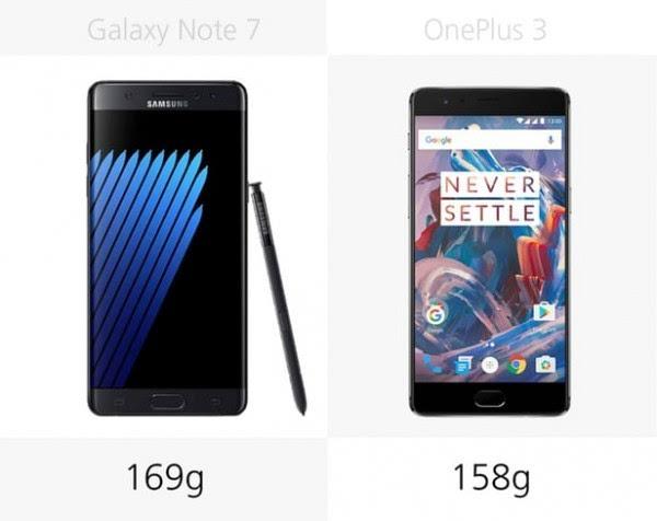 三星Galaxy Note 7和一加手机3规格参数对比的照片 - 3