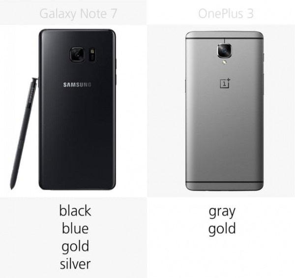 三星Galaxy Note 7和一加手机3规格参数对比的照片 - 5
