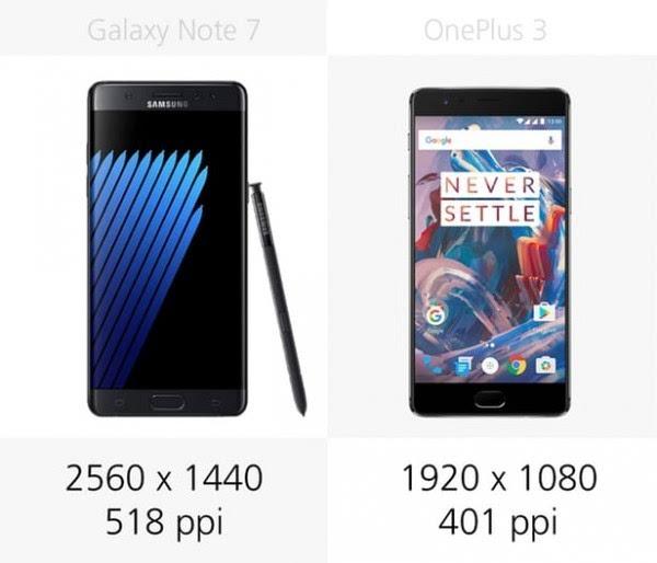 三星Galaxy Note 7和一加手机3规格参数对比的照片 - 7