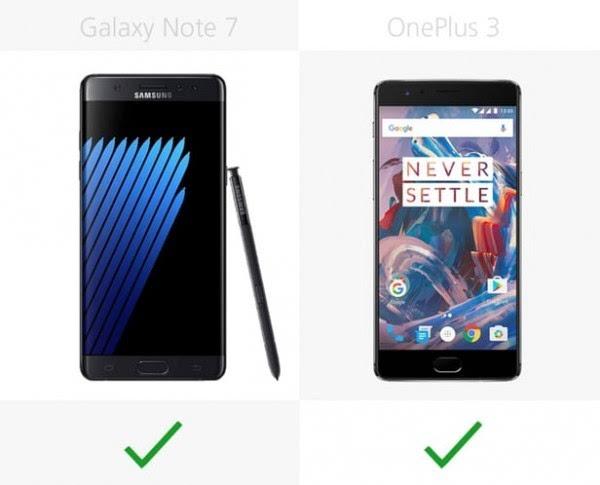 三星Galaxy Note 7和一加手机3规格参数对比的照片 - 15