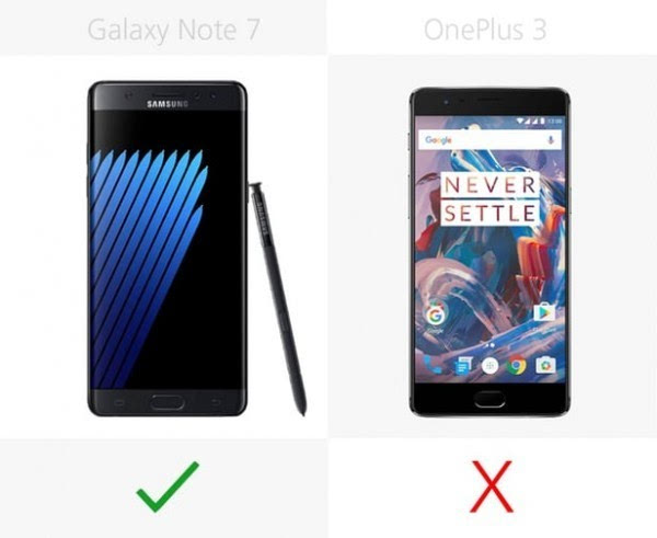 三星Galaxy Note 7和一加手机3规格参数对比的照片 - 21