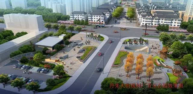 丹朱大街线材厂节点公园花海透视效果图