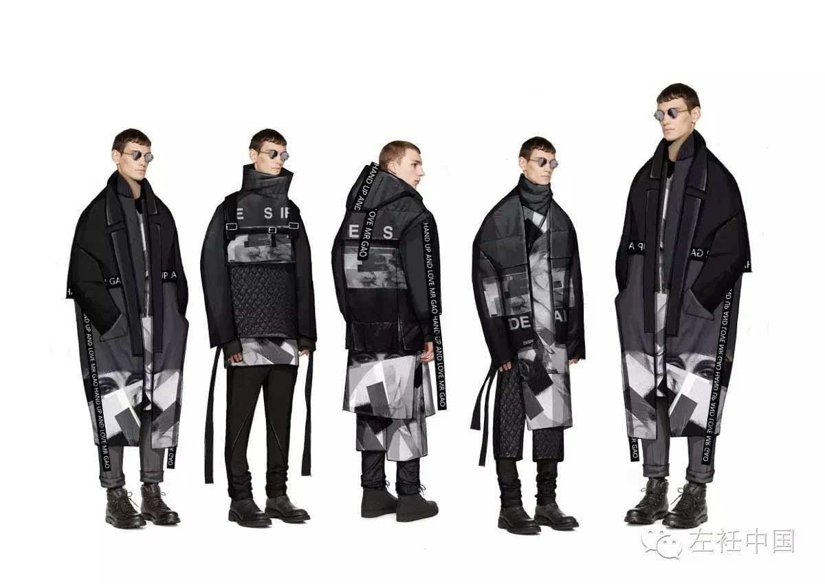 第一步:手绘线稿,重点表现服装款式,廓形,人体动态可突破常规站姿