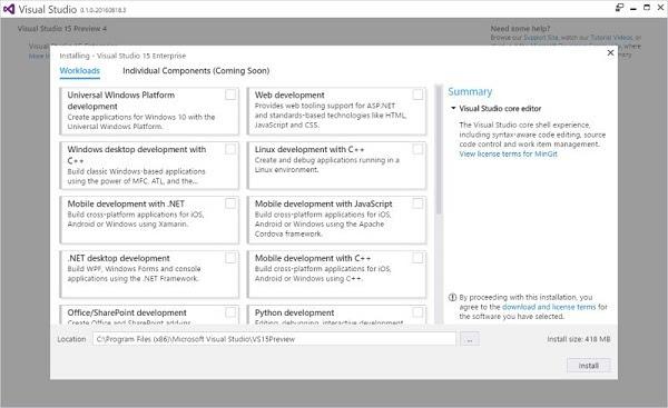 "Visual Studio ""15"" Preview 4已放出:改进安装器性能的照片 - 2"