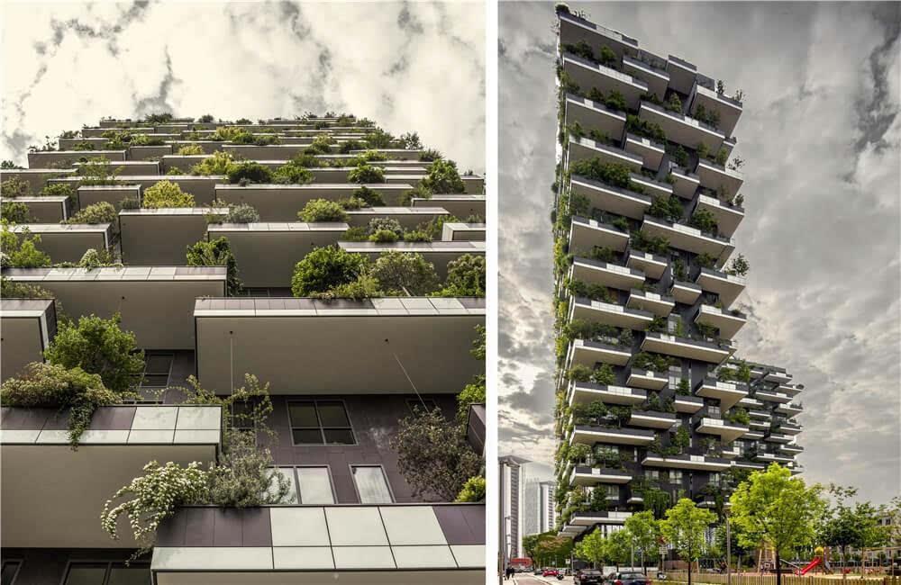 就像米兰垂直森林建筑,每一位居民都能享受到2棵树木,8株灌木以及40多