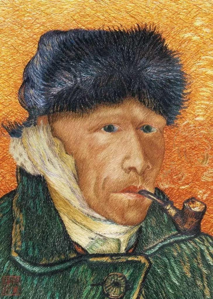 《叼着烟斗的自画像》