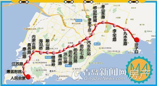 地铁与轻轨通车运行之后,从中联依山伴城前往青岛各区的时间将大大