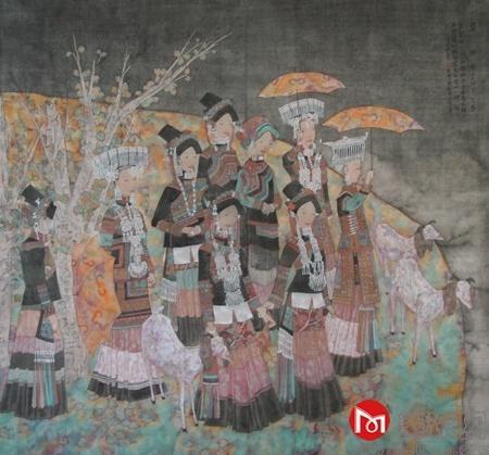 邓枫彝族风情重彩人物画欣赏