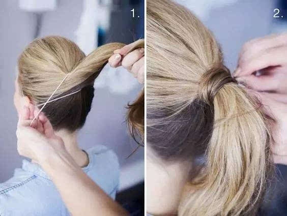 第一步:将头发扎成简单的马尾.