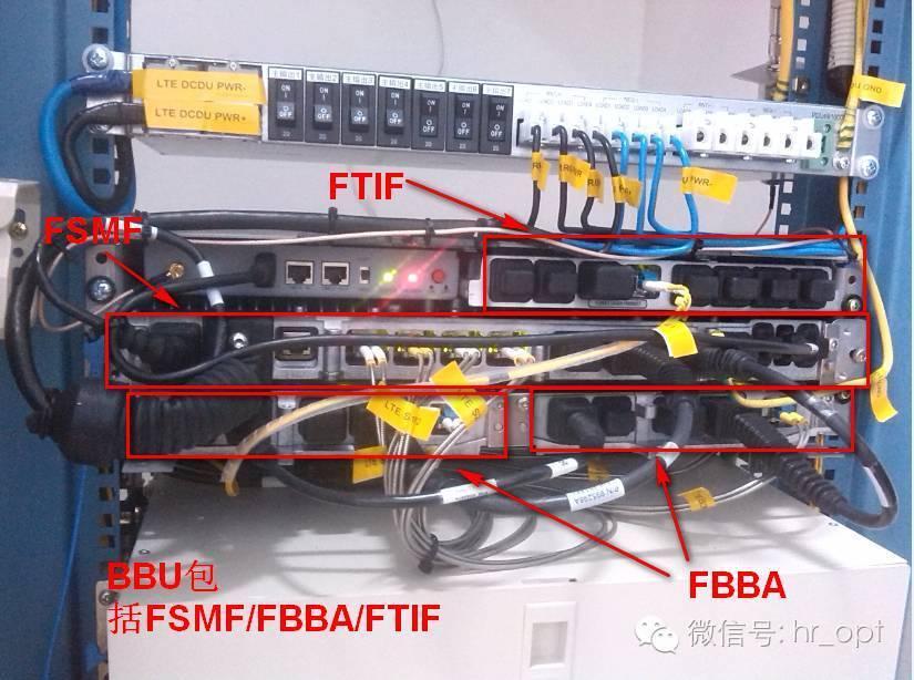 下面将介绍BBU包含的三个模块: 1)主系统模块FSMF FSMF是TD-LTE 室外型基站的Flexi Multiradio 10 Base Station系统模块。包含所支持无线接入技术的所有控制和基带功能。主要功能包括: 基带信号处理 内置以太网和IP V4/V6传输功能(可简单理解为信号的传输方式); 基站时钟生成和分发功能; 基站管理和维护功能; 传输控制功能; 无线接口集中控制功能。 简单来说,接收或者发送出去的信号都是在FSMF模块中进行相关处理操作的。 FSMF接口如下图所示:BBU机框