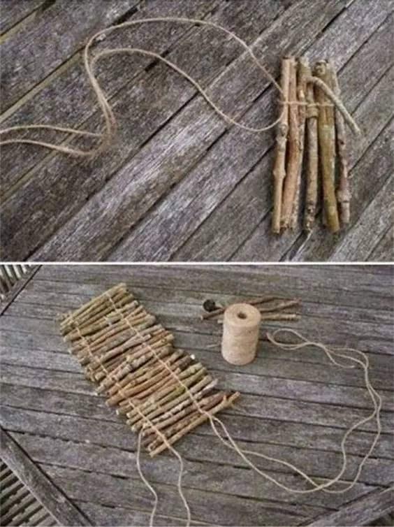 将串好的树枝条围在花盆模型上.