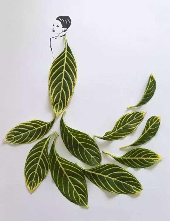 利用树叶本身的形状,脉络来绘制图画