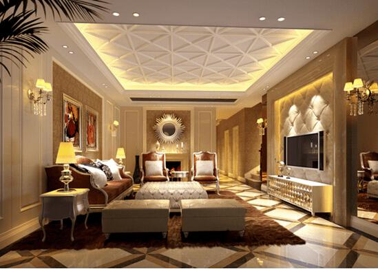 高贵舒适 欧式客厅电视背景墙效果图