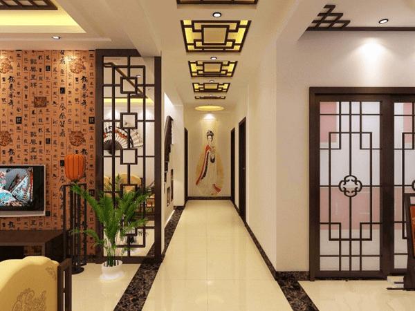 穿过文化长廊 中式走廊吊顶装修效果图图片