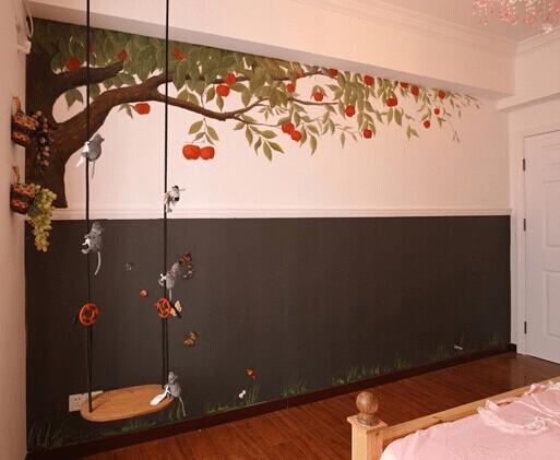 掉进想象力漩涡里 儿童房手绘墙效果图