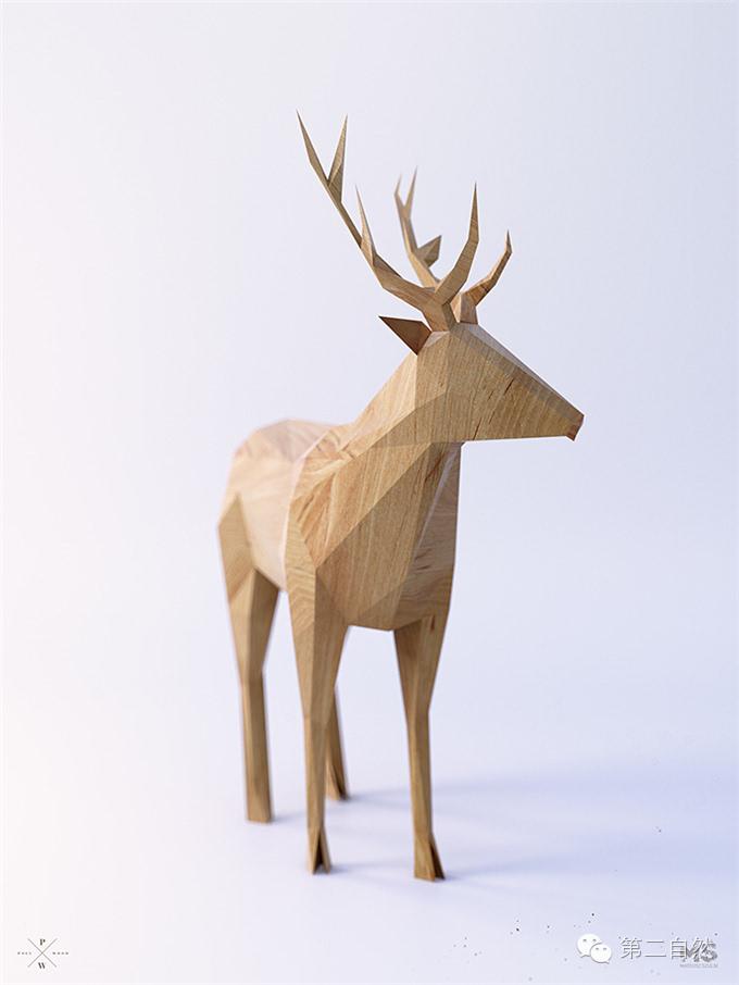 低多边形创意风格的不断探索,用木头雕刻出了一个奇幻的森林动物世界.