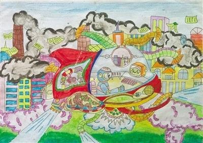 """兴业银行杯""""我心中的通航""""甘肃青少年科普绘画大赛获奖作品选(图)图片"""