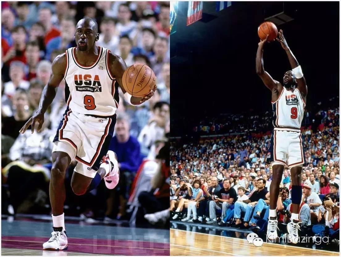 """乔丹在1992年巴塞罗那奥运会上穿着air jordan 7""""olympic""""图片"""