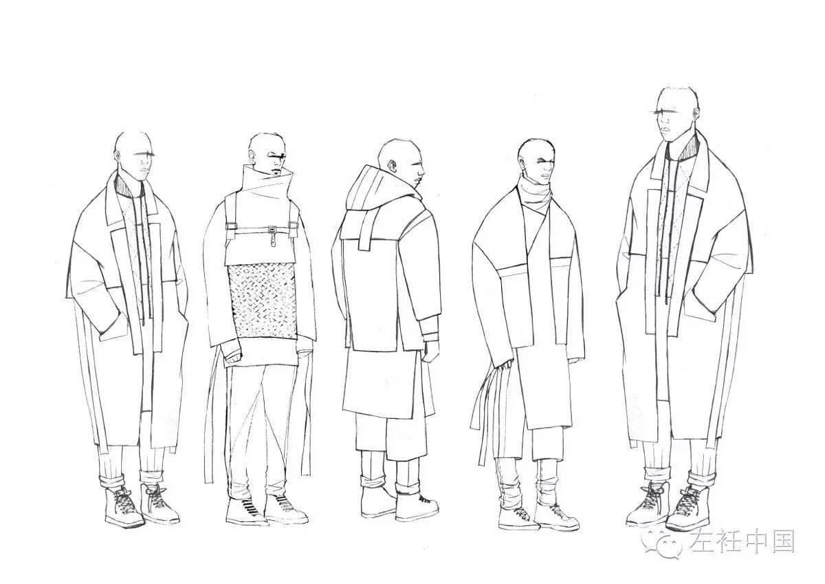 服装配饰手绘线稿图