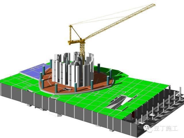 核心筒→钢结构外框架→楼层阶梯循环施工,直至主体结构施工至屋顶.