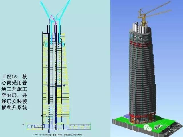 钢结构外框架及内外楼层逐层施工至40层,待40层转换层施工完成且达到