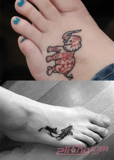 至in至潮的女脚背纹身图案大全图片分享