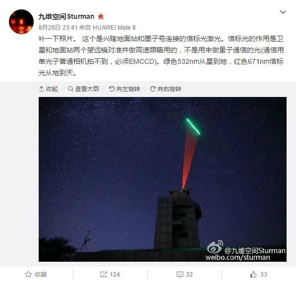 中国量子卫星对地通信照片公布:发射绿光的照片 - 2