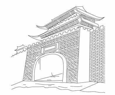 苏州城门手绘画