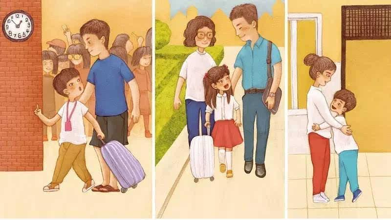 爸爸妈妈站在门口给孩子拍照,有些妈妈看到孩子转身走进学校的背影