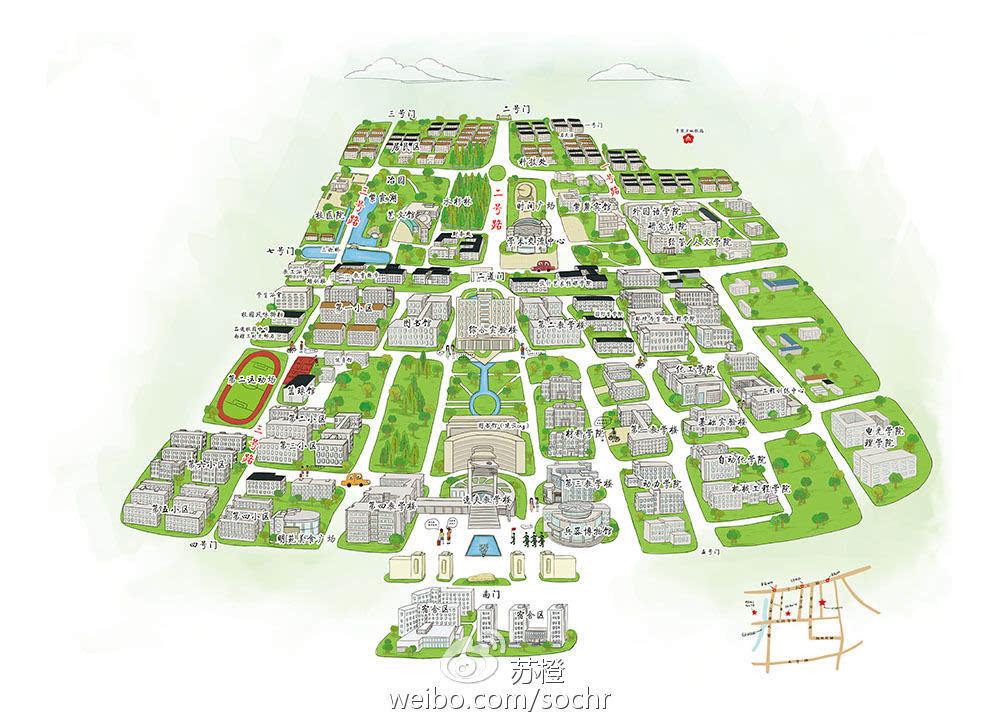 高校别具一格的手绘地图