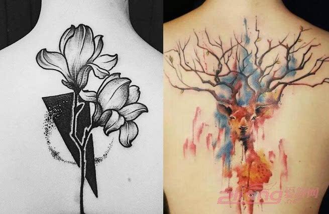 以黑色为主描绘而成的花朵图案是那么的魅惑神秘,每一朵花瓣的纹身