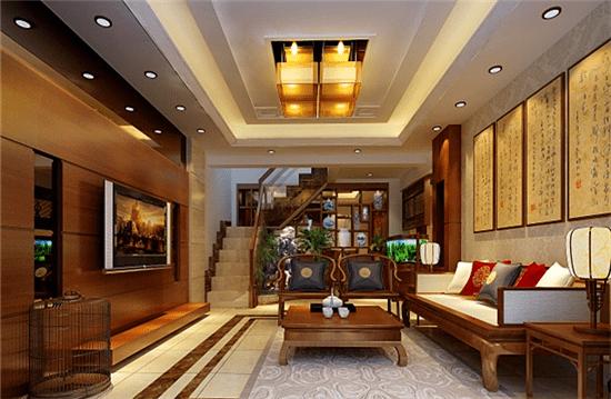 小复式装修效果图三 以欧式装修风格为主,再配上挑空的客厅吊顶,这样的设计便能轻松打造出从视觉上感觉比较大气而又不显紧凑的家居空间。地面选用的是欧式复古砖,白色茶几搭配复古风图案的单人沙发,这样从楼上看下来的效果好很多的,再配上同样色系的欧式椅子。开放式隔而不断的功能空间设计,让整个超小复式楼看起来更加的完美无瑕。