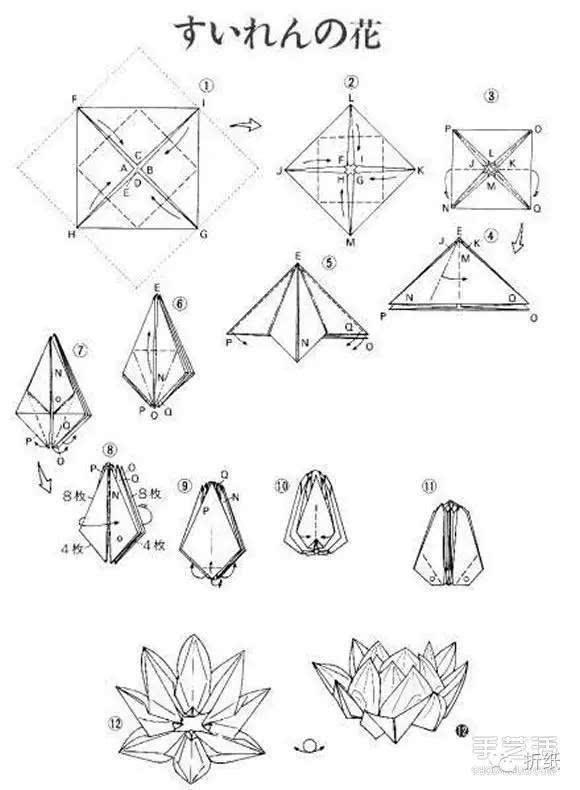 复杂莲花的折纸方法图解 睡莲的折法步骤图