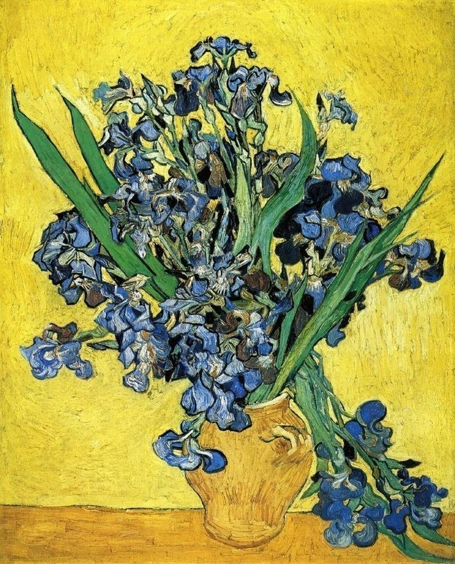 郑治桂专栏 鸢尾花 东方风的木刻油画1889年春天梵谷画着当季的鸢尾花,他从田地里的花丛画起,一直到