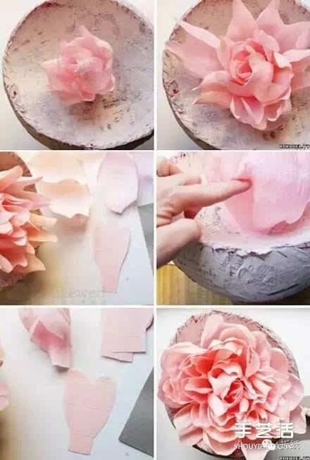 大型皱纸花的做法步骤 手工皱纸花的折法图解