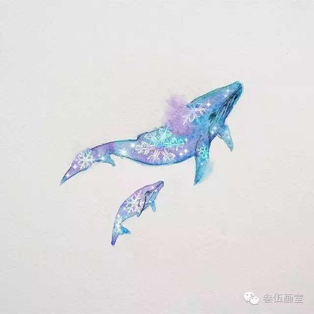 手绘梦幻鲸鱼图片