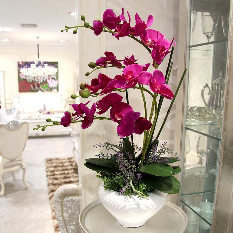 包邮 高仿真花蝴蝶兰套装 整体花艺 假花装饰花绢花 客厅摆设花卉