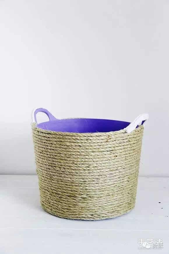 diy麻绳花篮罩的方法 塑料桶手工制作花盆罩