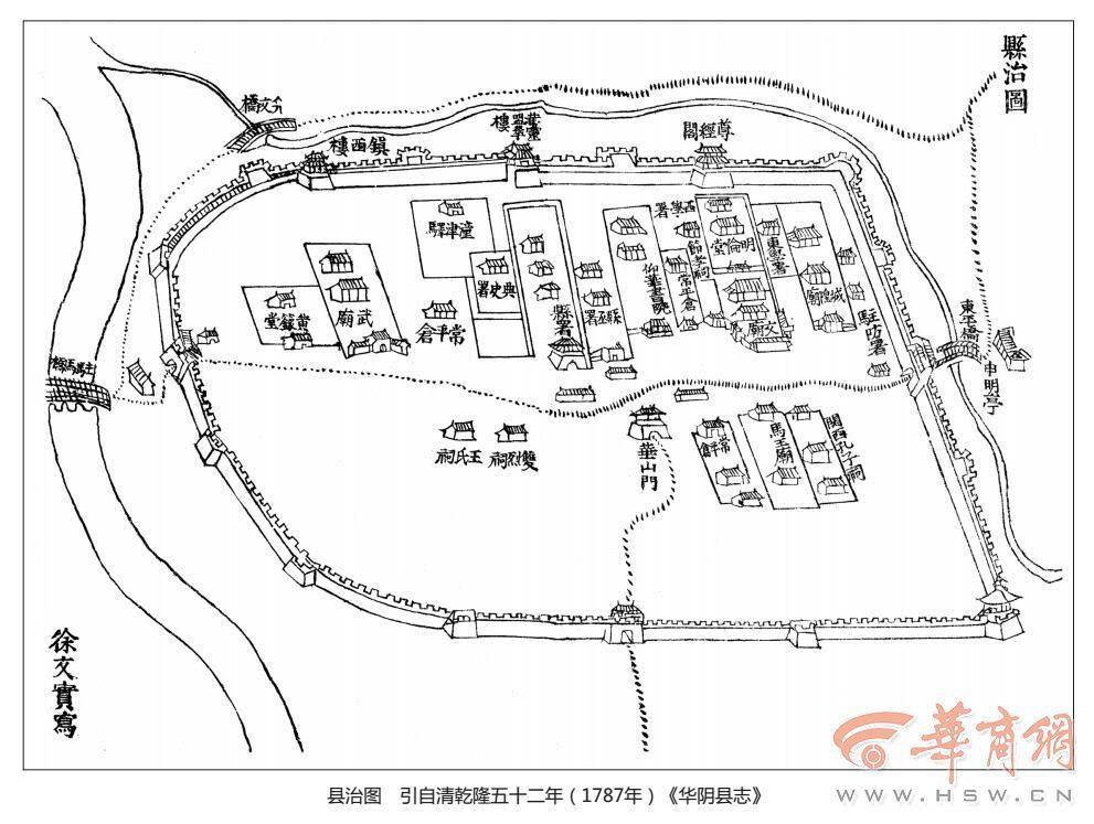 古人如何建城? 西岳庙建有三城楼对应华山三主峰图片