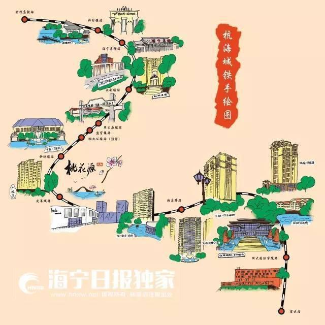 杭州 西湖群山手绘图