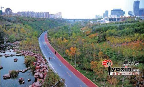 昨日,在乌鲁木齐经济技术开发区(头屯河区)的小绿谷公园内,主道边设置
