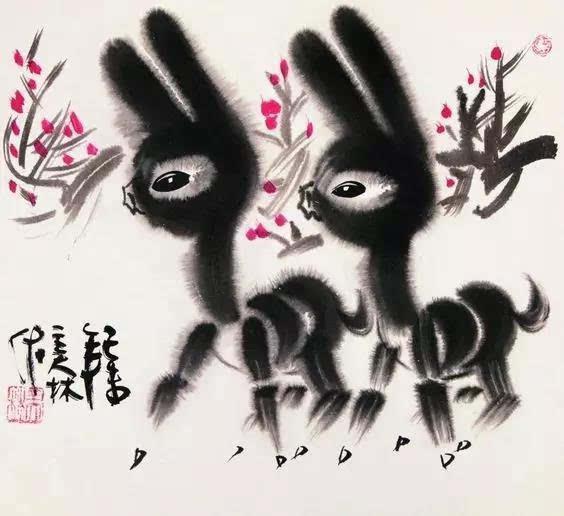能把中国传统水墨画艺术与小动物