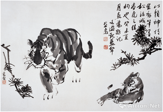 2002年蓝犁大写意水墨画《觅食图》,入选中国画研究院编撰的大型画