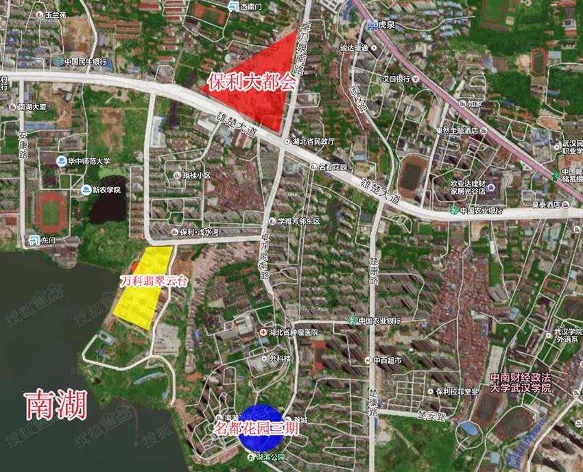 该项目由武汉城投房地产开发有限公司开发,位于雄楚大道以南,毗邻南湖